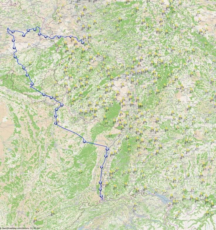 Karte des Streckenverlaufs der ersten 8 Tage