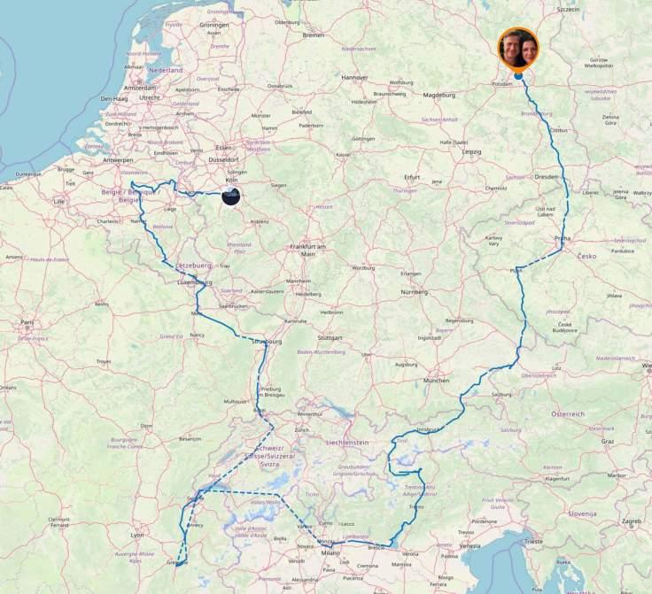 Gesamter Streckenverlauf der Europatour #FürMiliana