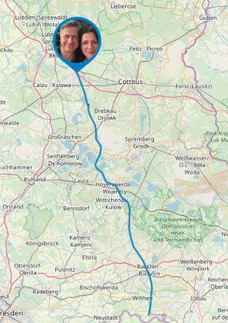 Strecke von Sohland bis Vetschau auf der Karte